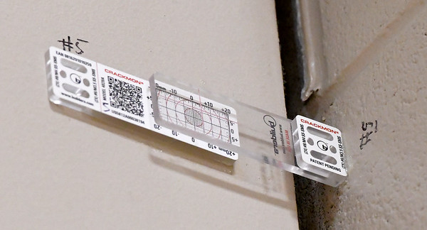 Gauges keep track of the separation of walls in the new tornado shelter at Columbia Elementary.<br /> Globe | Laurie Sisk