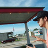 Eli Chenoweth talks about buying the Marathon gas station on Route 66, during an interview on July 11.<br /> Globe | Roger Nomer