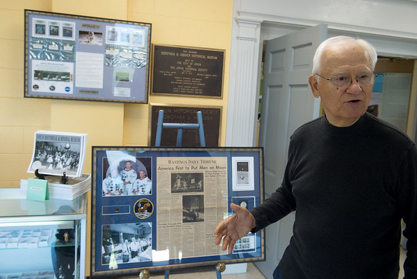 Allen Shirley talks about a new exhibit on Apollo 11 at the Joplin History Museum on Thursday.<br /> Globe   Roger Nomer