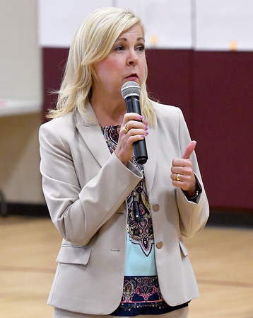 Joplin RVIII Superintendent Melissa Moss fields questions fron parents and residents during a public input forum on the fate of Columbia and West Central Elementary schools on Thursday night at Columbia Elementary. The forum was one of several conducted during the week.<br /> Globe | Laurie Sisk