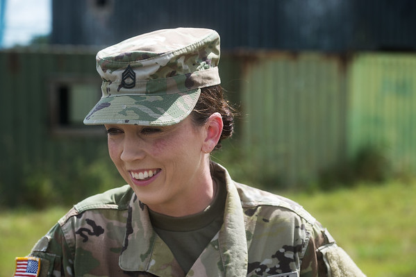 Jessica Park, with the Soldiers with the 329th Combat Sustainment Battalion from Parsons, Kan., talks about his training for deployment on Tuesday at Camp Crowder.<br /> Globe | Roger Nomer