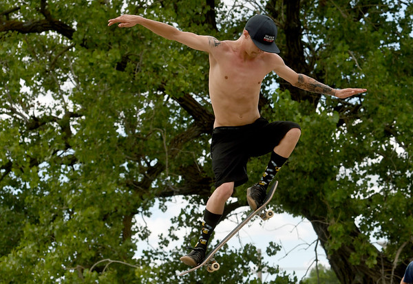 Jimmy Anderson gets some big air as he perfects his skills at the Ewert Skate Park on Tuesday.<br /> Globe | Laurie SIsk