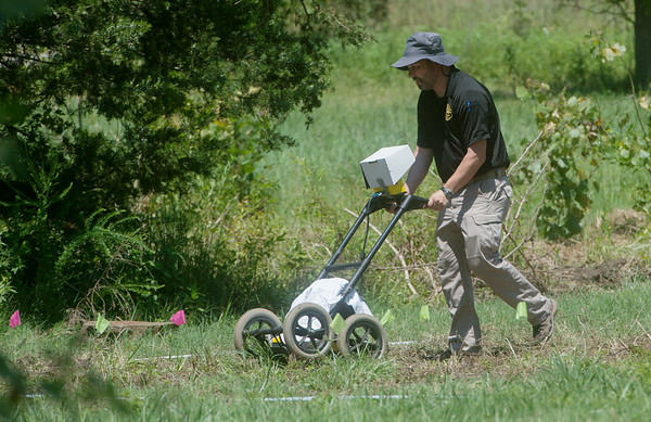 Ground-penetrating radar is used at a site in Picher on Tuesday afternoon.<br /> Globe | Roger Nomer