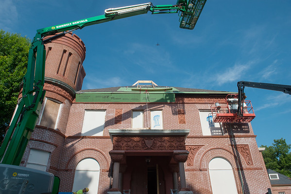 Masonry work is being replaced at the Schifferdecker House.<br /> Globe | Roger Nomer