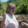 Lorene Bible talks to the media as a site is searched in Picher on Tuesday.<br /> Globe | Roger Nomer