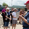 Murray Fields reads an account of a detention center from a child on Tuesday at Sen. Jerry Moran's office in Pittsburg.<br /> Globe | Roger Nomer