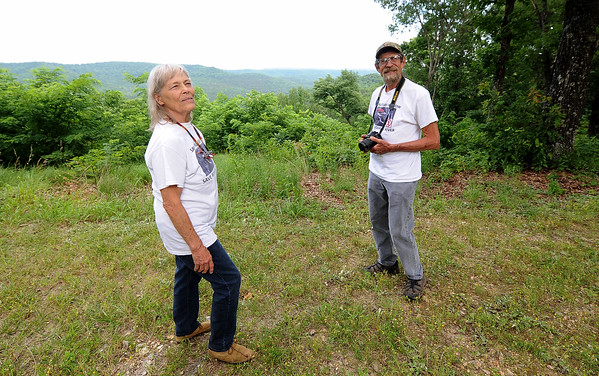 Sharon and Dale Becker stand near a scenic overlook in Seligman.<br /> Globe | Laurie Sisk