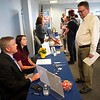 BEN GARVER — THE BERKSHIRE EAGLE<br /> MassHire Berkshire Career Center at 160 North Street held an advanced manufacturing job fair in Pittsfield for job seekers who have taken their advanced manufacturing training or who have an interest in the field.