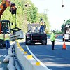 BEN GARVER — THE BERKSHIRE EAGLE<br /> Work begins to eliminate The accident-prone intersection of the Route 7 and 20 bypass at Hubbard Street in Lenox, Wednesday, June 12, 2019.. It  is scheduled to be permanently closed by June 21, with removal of the temporary barriers installed late last December following a fatal collision on Dec. 12.