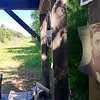HEATHER BELLOW - THE BERKSHIRE EAGLE <br /> A photo of Henry David Thoreau is tacked to the protest cabin.