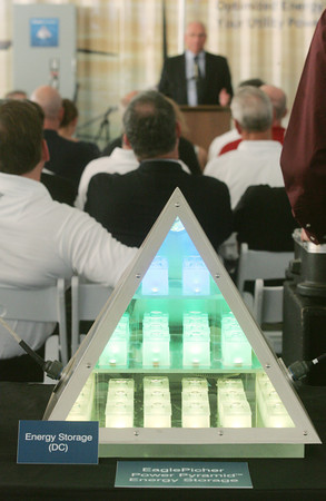 Globe/Roger Nomer<br /> A demonstration of the Power Pyramid shows the hybrid nature of the battery at EaglePicher.