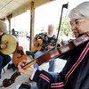 Globe/T. Rob Brown<br /> Members of the Plainsfolk band perform Friday morning, June 1, 2012, at the Webb City Farmer's Market at King Jack Park. Pictured from left: Jack Sours, of Neosho, Steve Widders, of Springfield, and Lee Ann Sours, of Neosho.