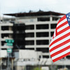 Globe/T. Rob Brown<br /> A small flag waves in the wind at the intersection of 26th Street and Maiden Lane, across from the St. John's Mercy Hospital, Wednesday afternoon, June 13, 2012.