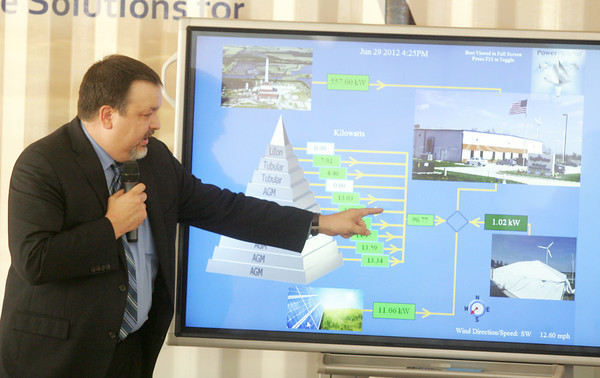 Globe/Roger Nomer<br /> Greg Miller, vice president of engineering and technology at EaglePicher, talks about the power flow for the Power Pyramid on Friday.