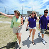 Globe/T. Rob Brown Lynn Onstott, left, City of Joplin public information officer, shows Cunningham Park to Jennifer Jordon, of Denver, and Bob Schatz, of Detroit, both with Best of the Road, Wednesday afternoon, June 20, 2012.