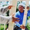 Globe/T. Rob Brown <br /> Martin Lucas, of Mesa, Ariz., a framer with Regan Construction, frames a house in the 2700 block of South Moffet Avenue Tuesday morning, June 12, 2012.