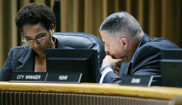 Globe/Roger Nomer<br /> Joplin Mayor Melodee Colbert-Kean and City Manager Mark Rohr look over the agenda for Monday's meeting.