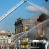 Globe/Roger Nomer<br /> Firefighters respond to a fire at a Carthage restaurant on the square on Saturday evening.