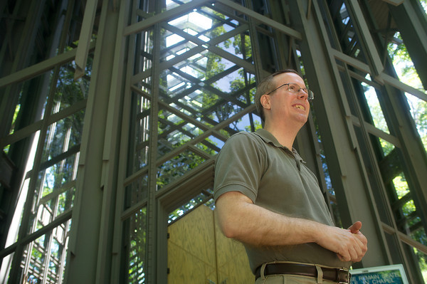 Globe/Roger Nomer<br /> Doug Reed, pastor at Thorncrown Chapel in Eureka Springs, talks about the history of the structure during an interview on Wednesday morning at the building.
