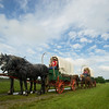 """Globe/Roger Nomer<br /> Wagons prepare to depart Liberal on the """"Echoes of the Trail"""" ride on Thursday morning."""