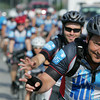Globe/Roger Nomer<br /> Joe Craigmile, Joplin, waves to a crowd of well-wishers along the route out of Joplin during the JOMONOLA ride on Thursday.