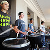 Globe/T. Rob Brown<br /> Joplin High School drumline members (from left) Danielle Hollingshead, Andrew Reynolds, Ramsey Ramirez, Sevrin Eldred, Zachary McDonough and Caleb Reagan practice Wednesday morning, June 19, 2013, at Memorial Hall.