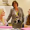 Globe/Roger Nomer<br /> Crowder College President Jennifer Methvin talks a group of CNA students including Jennifer Skaggs, Pierce City, left, and Alexandria Sellens, Wentworth on Wednesday morning.
