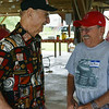 Globe/Roger Nomer<br /> Carmen Boccia, left, talks with Ron Piccini, Pittsburg, during the miners reunion at Big Brutus on Saturday, June, 7. Both the men are former miners at the Empire mine.