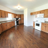 Keller Williams realtor Brenda Murray stands in the spacious kitchen of a home constructed by about 30 Franklin Technical Center students that is now for sale.<br /> Globe | Laurie Sisk