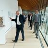 """Globe/Roger Nomer<br /> During a tour of his exhibit """"Global Citizen,"""" with Rod Bigelow, executive director at Crystal Bridges, Moshe Safdie stops to look at a model in one of the museum's galleries."""