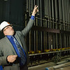 Globe/Roger Nomer<br /> Joseph Firman, director of the Pittsburg State University Bicknell Family Center, talks about the rigging in the performance hall during a tour on Friday.