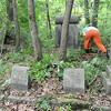 Jasper County inmates clean brush Wednesaday from the old Alexander Cemetery east of Carterville.<br /> Globe | Laurie Sisk