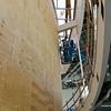 Globe/Roger Nomer<br /> Construction workers assemble the lobby of the Pittsburg State University Bicknell Family Center for the Arts on Friday morning.