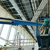 Globe/Roger Nomer<br /> Construction workers assemble the interior lobby of the Pittsburg State University Bicknell Family Center for the Arts on Friday morning.