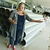 Globe/Roger Nomer<br /> Rep. Julie Menghini, third district, talks about the possibilities inside the former Camptown park building during a tour on Friday.