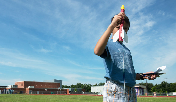 Globe/Roger Nomer<br /> Andrew Renner, sixth grade, prepares for launch on Wednesday at Thomas Jefferson Independent Day School's rocket camp.