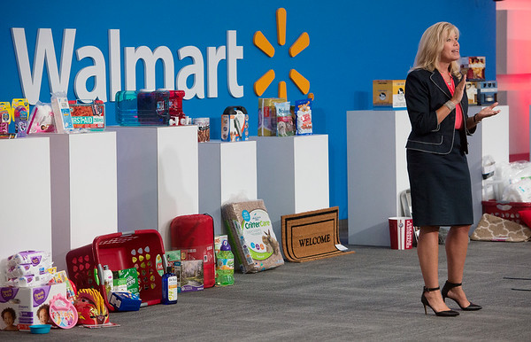 Globe/Roger Nomer<br /> Michelle Gloeckler, executive lead for Walmart's US Manufacturing Initiative, talks to suppliers during Tuesday's open call in Bentonville.