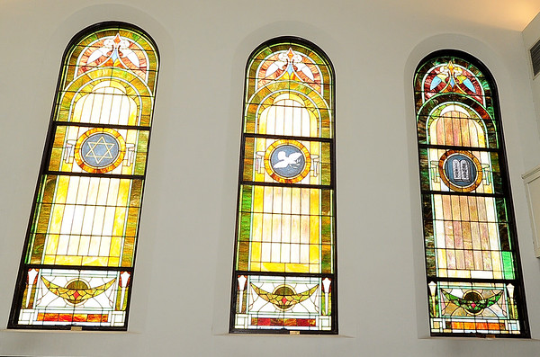 Ornate stained glass windows adorn the north side of the sanctuary of  the United Hebrew Congregation Temple at 702 S. Sergeant St. The temple turned 100 years old this year.<br /> Globe | | Laurie Sisk