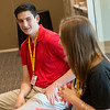 Globe/Roger Nomer<br /> Brandon Smithey, an incoming freshman from Flowermound, Texas, talks with Katie Seitz, a Pittsburg State sophomore from Overland Park, during the Pitt CARES event on Thursday at the Overman Student Center.