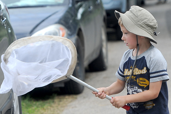 Five-year-old Julian Edmond, of Walnut Grove, practices his netting skills before the start of the Missouri Prairie Foundation's BioBlitz on Saturday at Linden's Prairie near Mount Vernon.<br /> Globe | Laurie Sisk