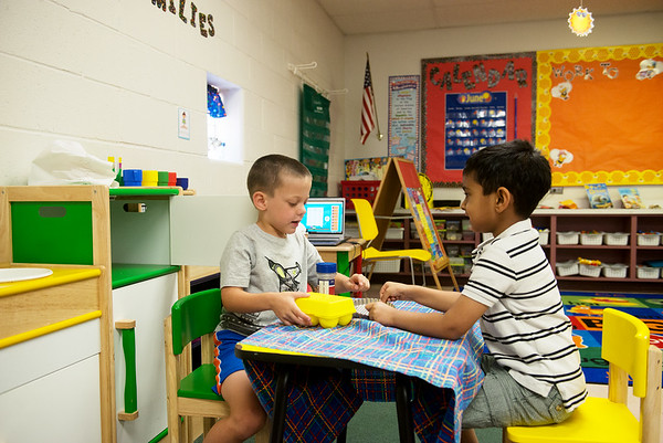 Globe/Roger Nomer<br /> Lane Harris, left, and Krish Shah play on Wednesday at Thomas Jefferson Independent Day School's Jump Start to Kindergarten.