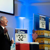 Globe/Roger Nomer<br /> Arkansas Gov. Asa Hutchinson addresses suppliers during Tuesday's open call at Walmart's Home Office in Bentonville.