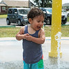 Globe/Roger Nomer<br /> Asaiah Brown, 1, Joplin, plays on the splash pad at Par Hill Park on Monday afternoon.