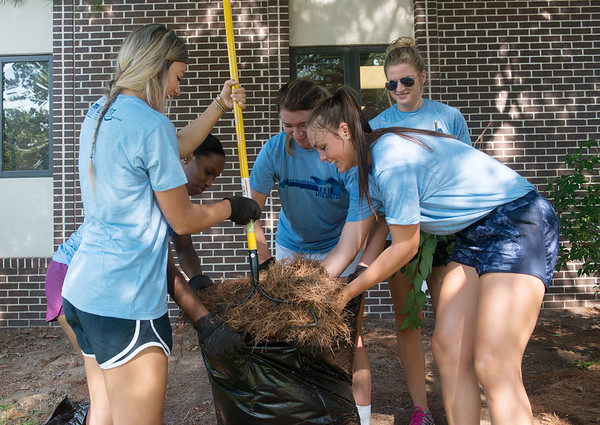 Globe/Roger Nomer<br /> (from left) Missouri Southern basketball players Dru Clark, a junior from Collinsville, Okla., Jasmine Green, a junior from Houston, Amelia Bramer a senior from Mt. Vernon, Shannon Mitchell, a sophomore from Seligman, and Chelsey Henry, a sophomore from Neosho, help landscape at the Children's Center on Friday as part of the United Way's Day of Action.