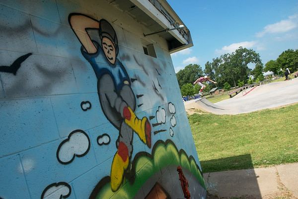 "Globe/Roger Nomer<br /> A new mural by Chayann ""Silver"" Perez was recently completed at the Ewert Skate Park."