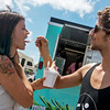 Globe/Roger Nomer<br /> Chelsea O'Neil and Cameron Heilig eat at Pineapple Bliss on Tuesday.