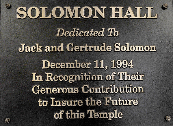 A plaque inside the social hall at the United Hebrew Congregation Temple at 702 S. Seargeant St. thanks the couple who made the hall possible.  The temple turned 100 years old this year.<br /> Globe | | Laurie Sisk