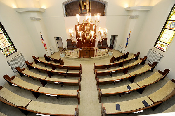 A look inside the sanctuary of the United Hebrew Congregation Temple at 702 S. Seargeant St. The temple turned 100 years old this year.<br /> Globe | | Laurie Sisk