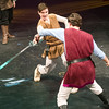 Servants from the Houses of Capulet and Montague engage in a sword fight during rehearsal for Romeo and Juliet on Wednesday night at Missouri Southern. From the left: James Keating as Sampson and Carlos Almedo as Abraham.<br /> Globe | Laurie Sisk