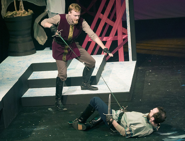 From the left: Tybalt (Frank Huber and Benvolio (Todd Manley) engage in a street fight during rehearsal for Romeo and Juliet on Wednesday night at Missouri Southern. <br /> Globe   Laurie Sisk